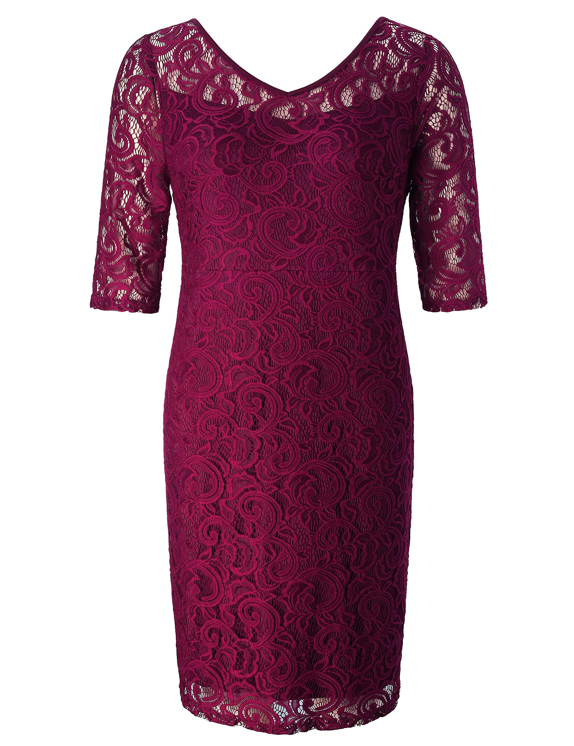 Chicwe Women's Plus Size Stretch Guipure Lace Dress - Party Wedding Cocktail Dress Wine Red 1X