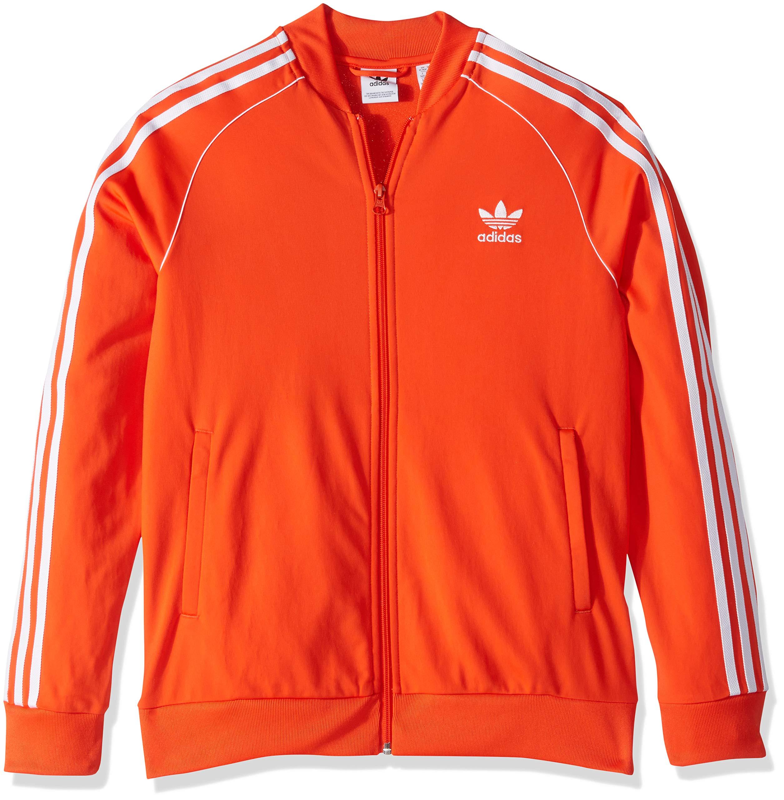 adidas Originals Boys' Big Superstar Jacket, active orange/white, Large