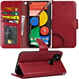 Arae Case for Google Pixel 5 PU Leather Wallet Case Cover [Stand Feature] with Wrist Strap and [4-Slots] ID&Credit Cards Pock