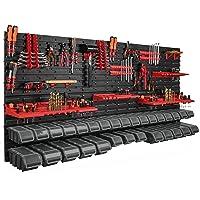 Estantería de pared de 178 x 78 cm, 30 cajas de almacenamiento, tapa para herramientas,…