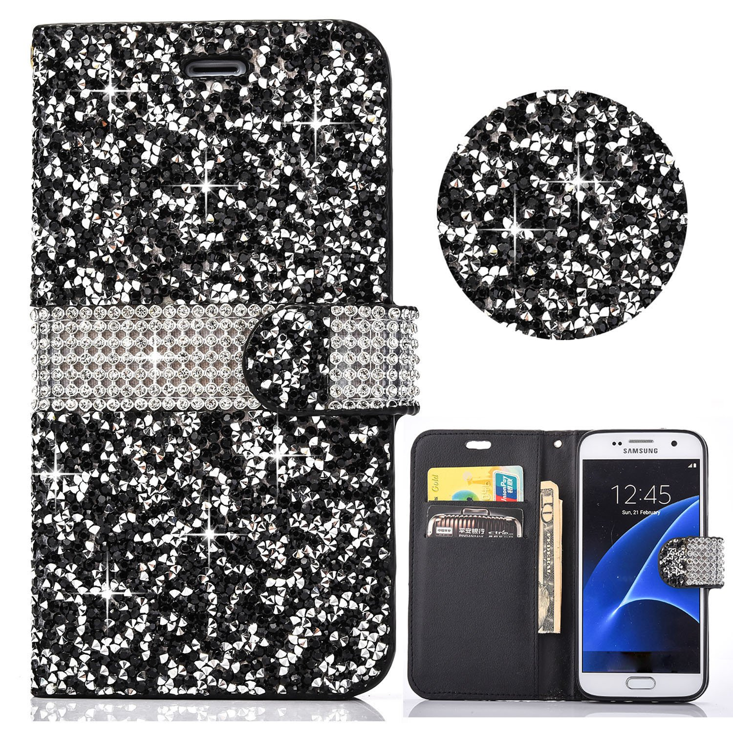Galaxy S7 Wallet Case, Shinetop 3D Diamond Bling Glitter Crystal Rhinetone PU leather Flip Case Cover Magnetic Stand Shockproof Protective Cover with Card Holders for Samsung Galaxy S7 SM-G930-Silver