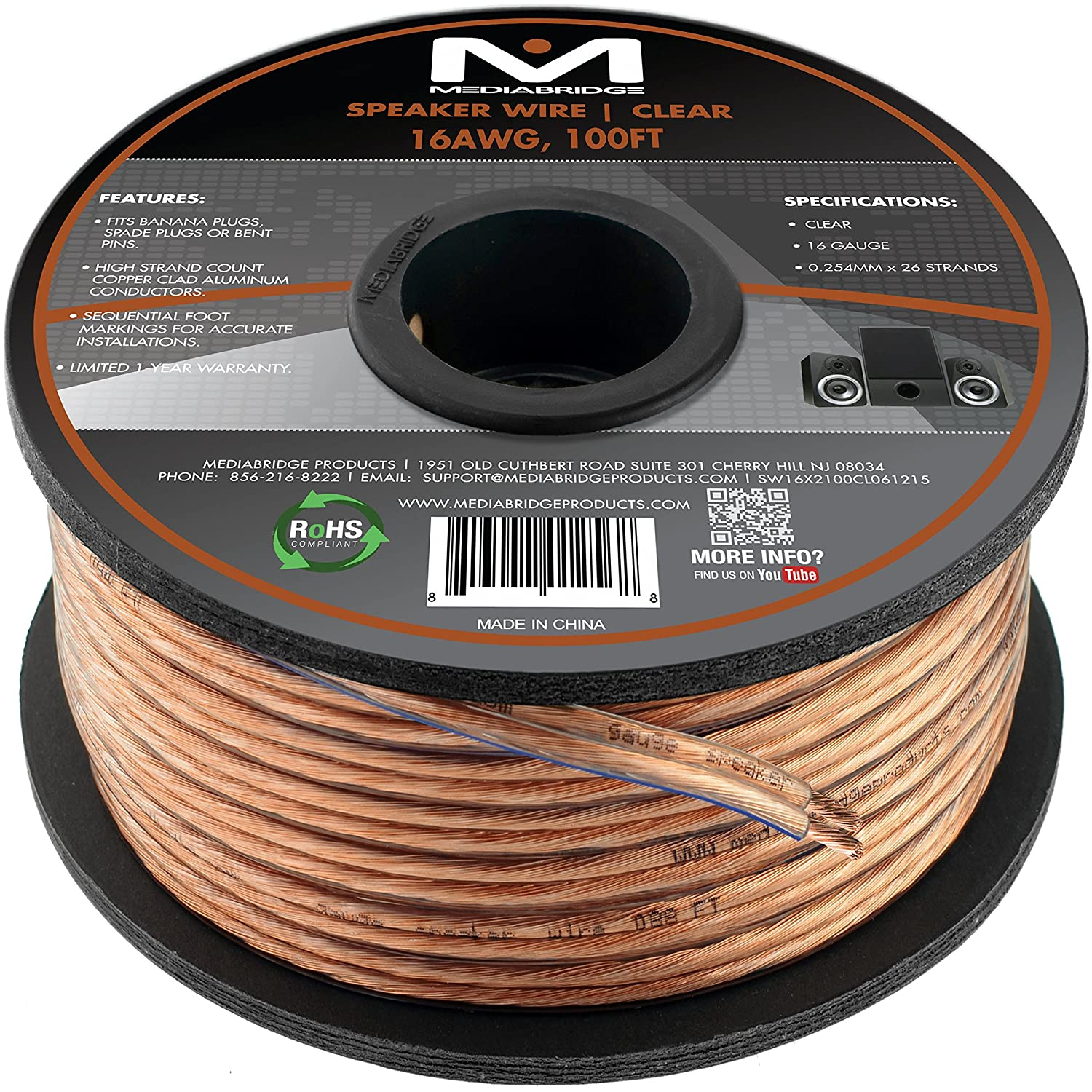 Amazon mediabridge 16awg 2 conductor speaker wire 100 feet amazon mediabridge 16awg 2 conductor speaker wire 100 feet clear spooled design with sequential foot markings part sw 16x2 100 cl electronics greentooth