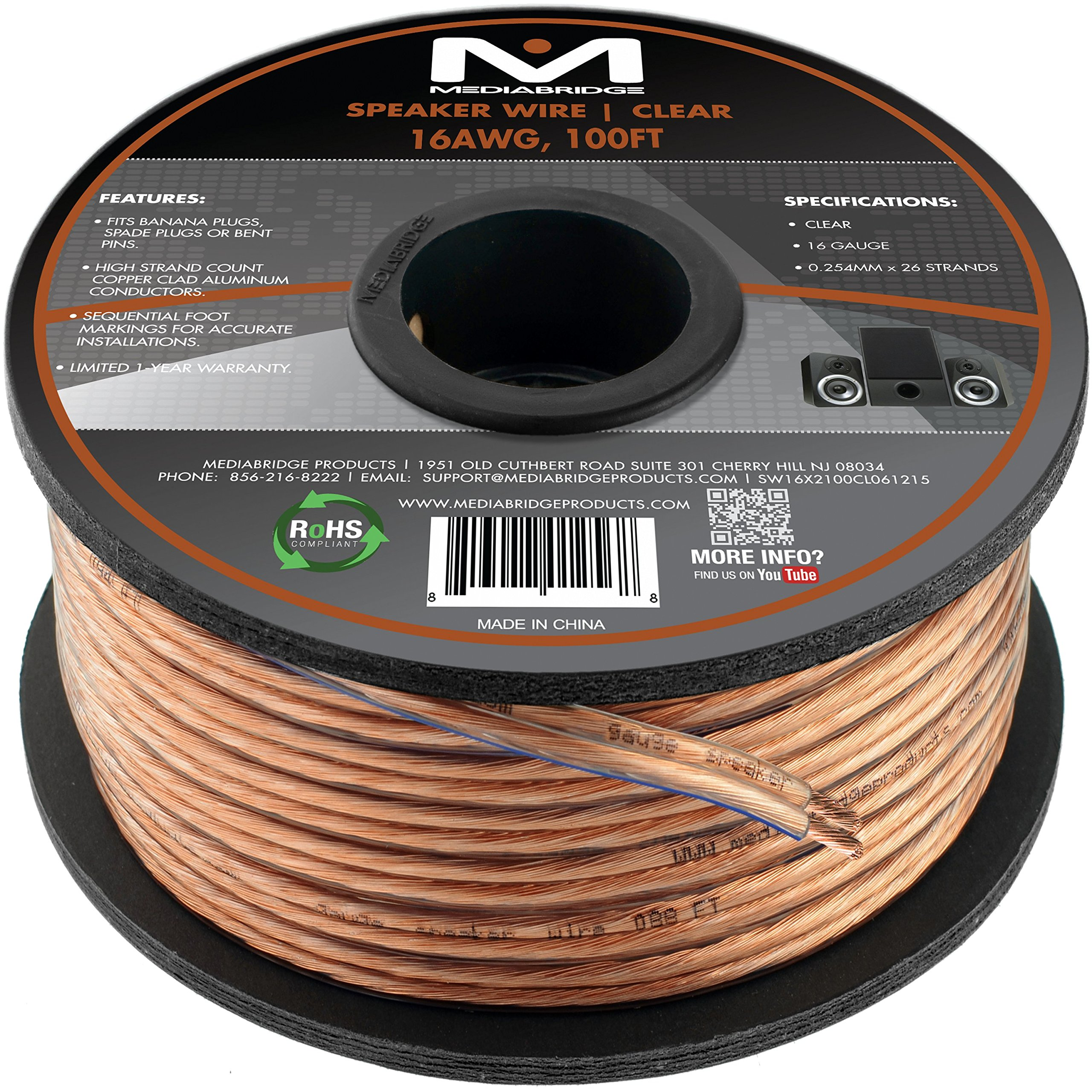 Mediabridge 16AWG 2-Conductor Speaker Wire (100 Feet, Clear) - Spooled Design with Sequential Foot Markings (Part# SW-16X2-100-CL) by Mediabridge