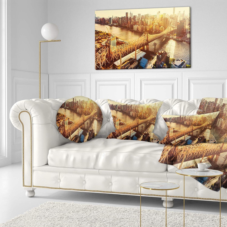 Designart CU14017-20-20-C Queensboro Bridge Over East River Cityscape Round Cushion Cover for Living Room Sofa Throw Pillow 20