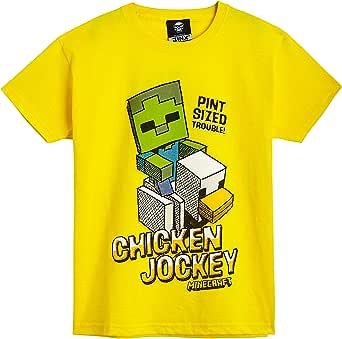 Minecraft Camiseta Niño, Ropa Niño Algodón 100%, Camisetas de Manga Corta con Diseño Chicken Jockey, Merchandising Oficial, Regalos para Niños y Adolescentes