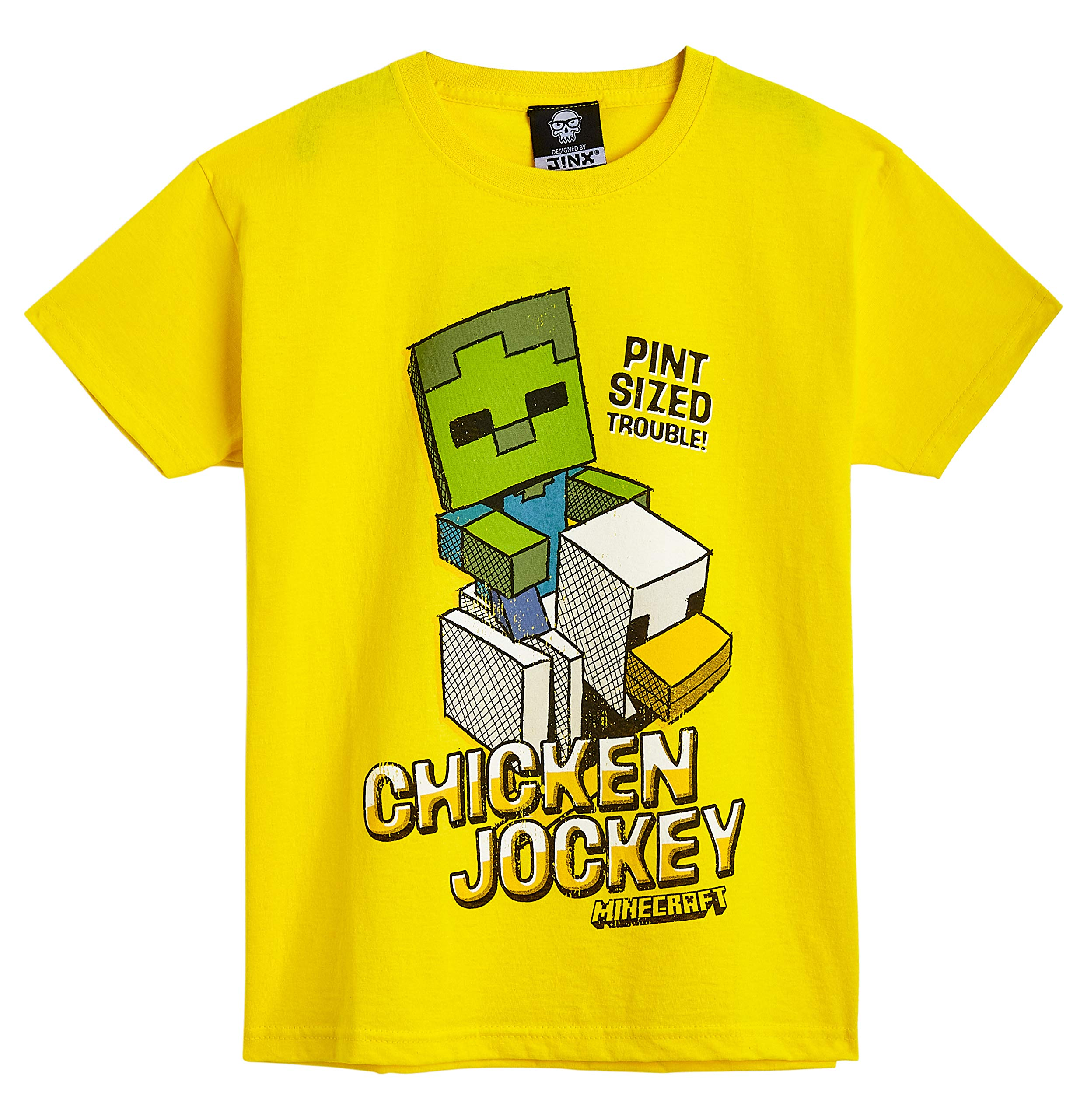 Minecraft Boys T Shirt Official Merchandise Gifts for Boys Age 5-14 Years Fun Graphic T- Shirt with Chicken Jockey Design 100/% Cotton Kids Clothes Short Sleeve Yellow Top