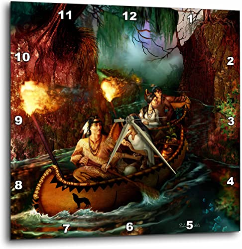 3dRose DPP_11658_3 Native American Family from Long Ago on a Journey Down The River by Canoe Wall Clock, 15 by 15-Inch