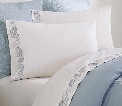 Harbor House Coastline Queen Bed Sheets, Coastal 100% Cotton Bed Sheet,  Ivory Bed