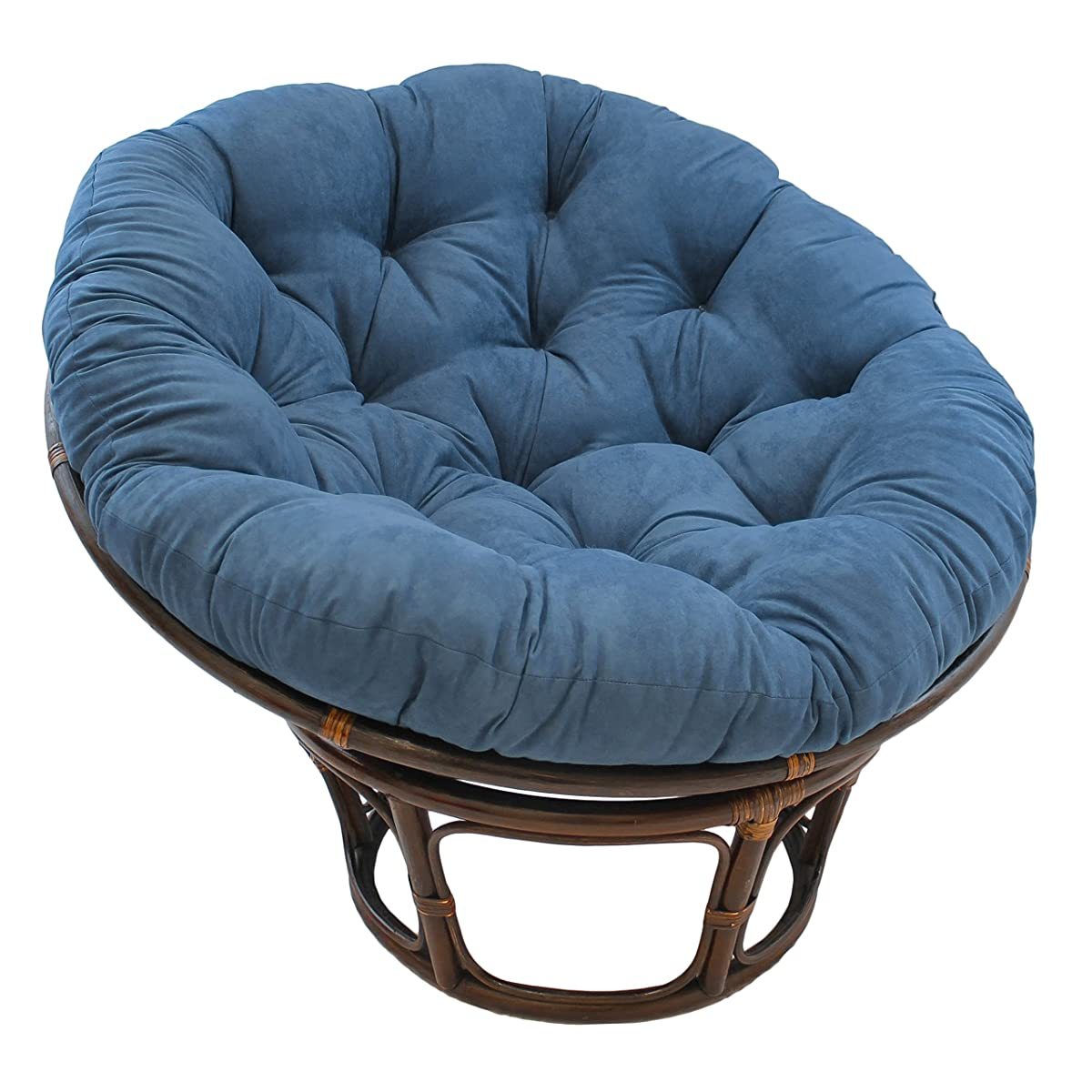 "Blazing Needles Solid Microsuede Papasan Chair Cushion, 48"" x 6"" x 48"", Indigo"