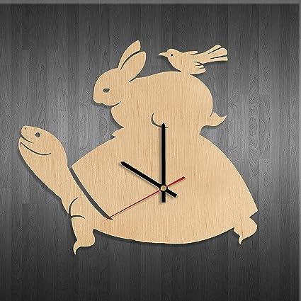 Amazon Com Little Animals Design Wood Wall Clock Modern Wood Wall