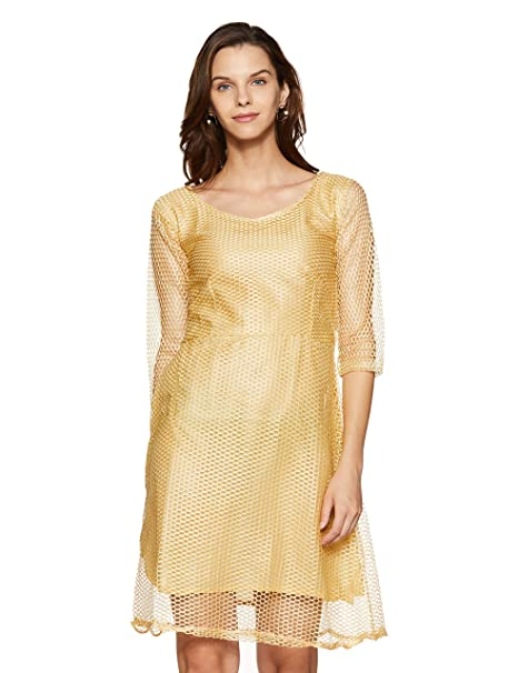 1 Stop Fashion Womens Beige Lace Crepe Western Dress