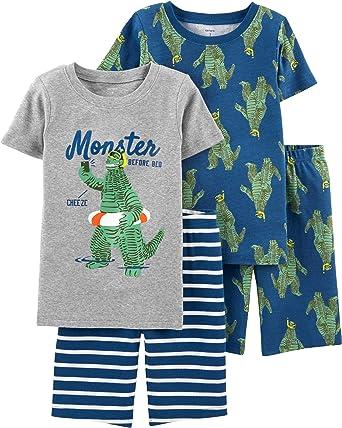 5b2359a21 Carter's Boys' 4-Piece Snug Fit Cotton Pajama Sets (Blue/Heather/