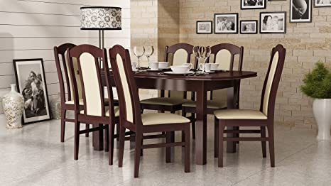 Best For Home Dining Table And Chairs Set 1x Dining Table 160 X 90 X 200 Dark Walnut And 6 X Dining Chairs Set No 3 Made In Europe Amazon De Kuche Haushalt