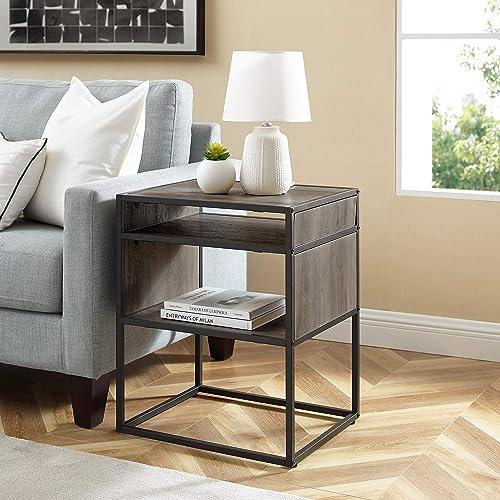 Walker Edison Industrial Modern Metal Frame Wood Rectangle Side Accent Set Living Room Storage Shelf End Table