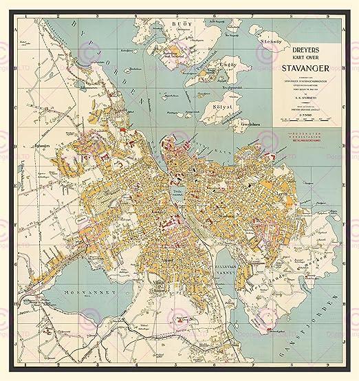 Amazon Com Doppelganger33ltd Map 1938 Dreyer Stavanger Norway Old