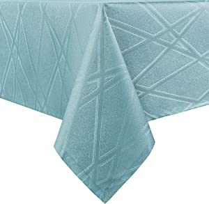 Hiasan Rectangle Tablecloth with Silver Lines Waterproof Stain Resistant Jacquard Table Cloth for Dining Room Picnic Kitchen, 54 x 120 Inch, Agate Green