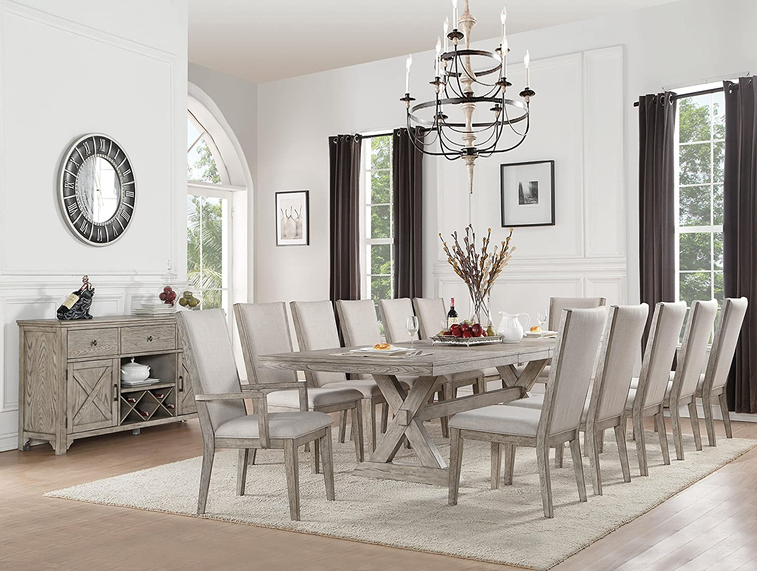 Amazon com acme furniture 72860 rocky dining table gray oak chairs