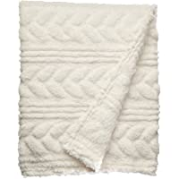 POSH HOME Embossed Cable Sherpa Throw Blanket (50x60)