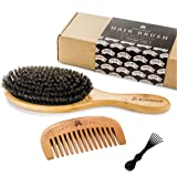 Boar Bristle Hair Brush for Natural Hair Conditioning, Wooden Comb for Hair Detangling, Set Makes Hair Shiny and Silky