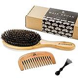 Haarbürste aus Wildschweinborsten für natürliche Haarkonditionierung, Holzkamm zur Haarentwirrung, Set für glänzendes und seidiges Haar