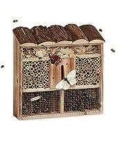 Relaxdays Casetta per insetti da appendere hotel per api casa farfalle legno marezzato HLP: 31 x 30,5 x 9,5 cm, beige