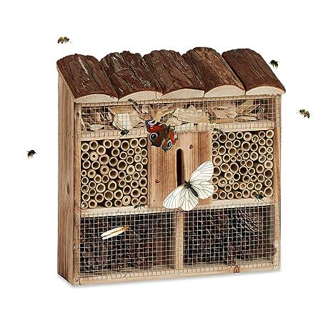Relaxdays Casa para Insectos de Jardín Pequeña, Madera, Marrón, 31 x 30.5 x