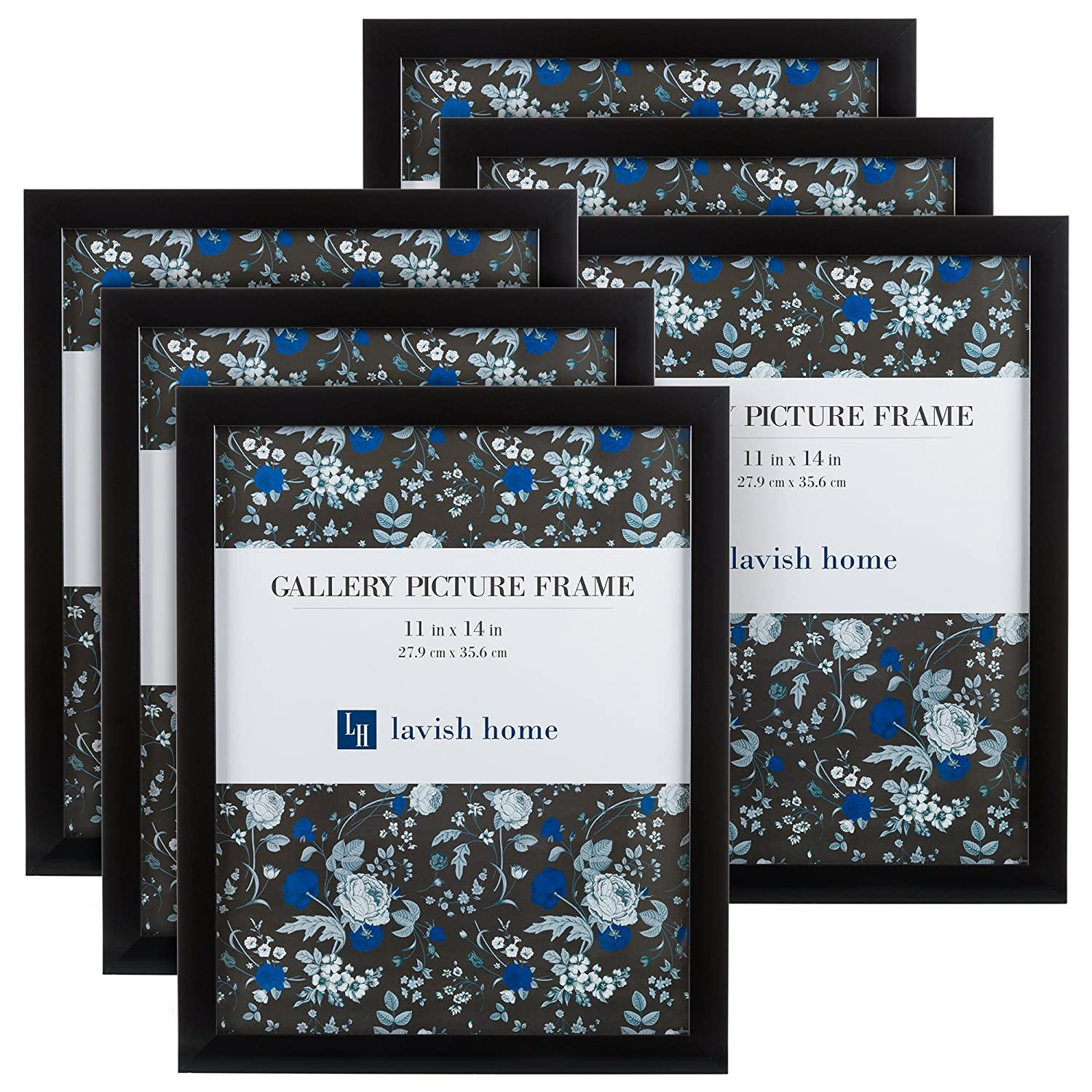 Picture Frame Set, 11x14 Frames Pack For Picture Gallery Wall With Stand and Hanging Hooks, Set of 6 By Lavish Home (Black)