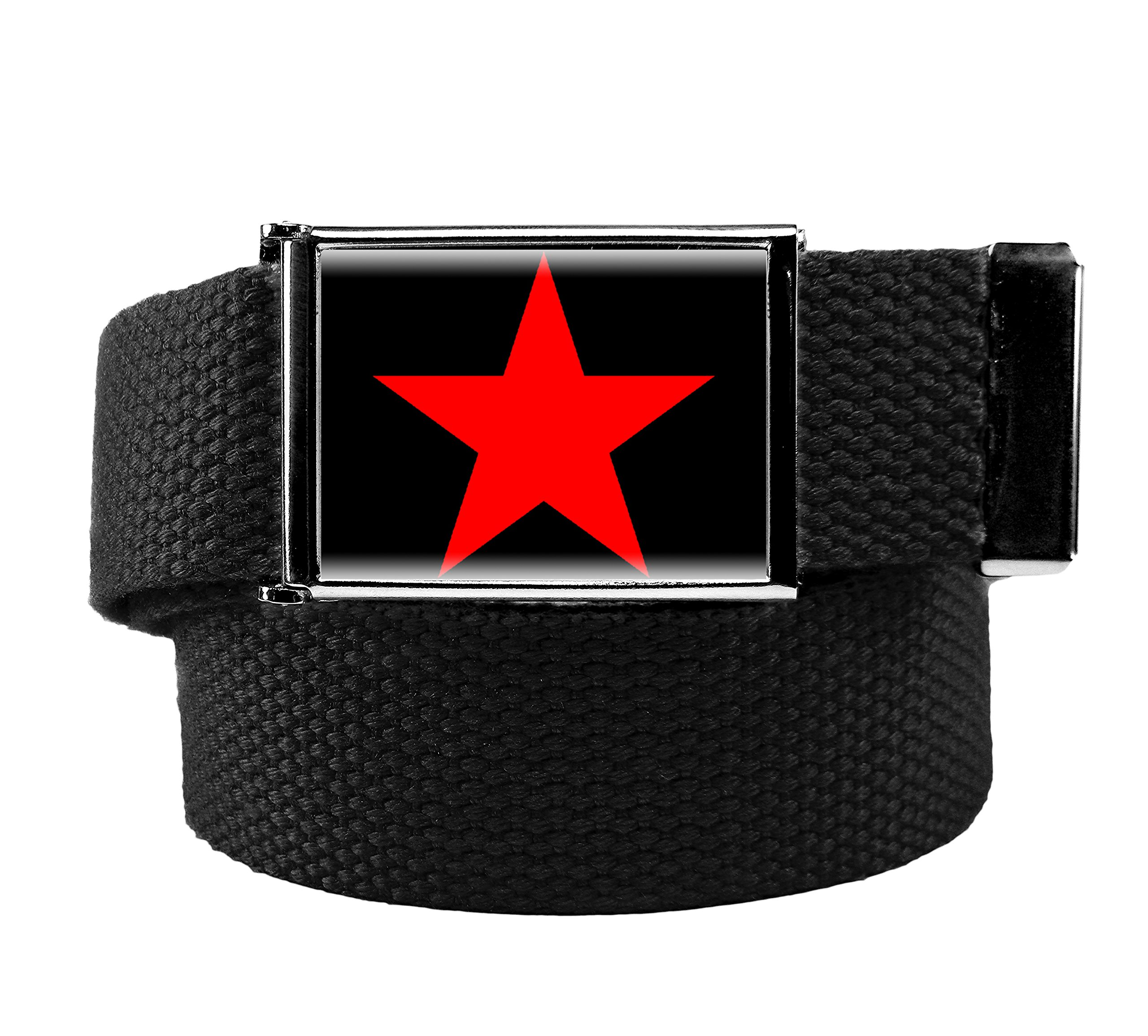 Red Star Flip Top Womens Belt Buckle with Canvas Web Belt XX-Large Black