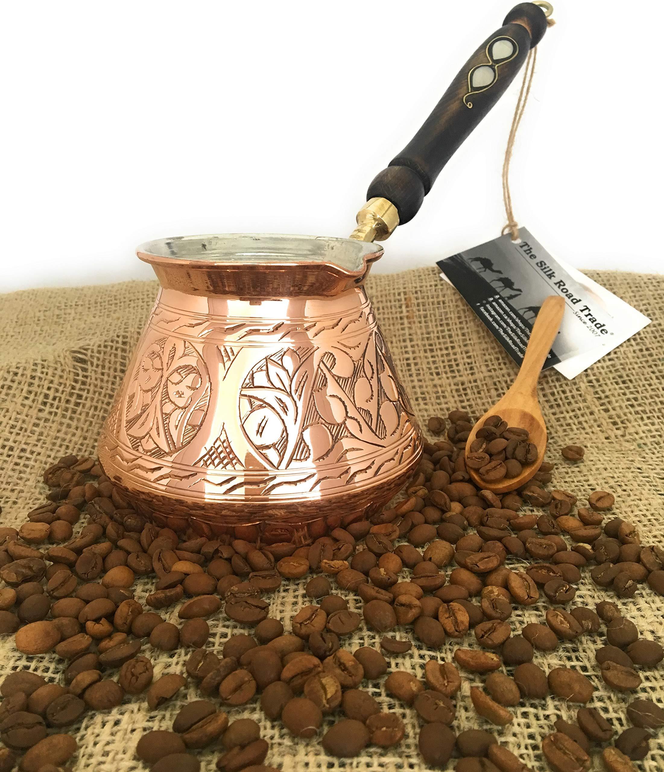 The Silk Road Trade - ACI Series (Large) - Thickest Solid Hammered and Engraved Copper Turkish Greek Arabic Coffee Pot / Coffee Maker Cezve Ibrik Briki with Wooden Handle (18 fl oz) by The Silk Road Trade (Image #7)