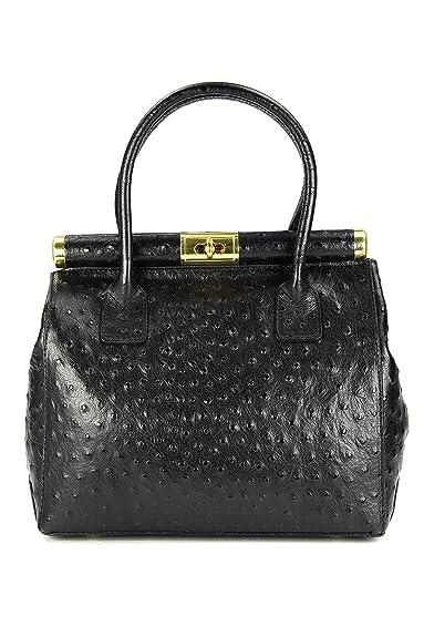 The Bag L Leder Henkeltasche Handtasche Damen Ledertasche Umhängetasche schwarz strauss - 29x24x16 cm (B x H x T) Belli 0QTFgxdV3w