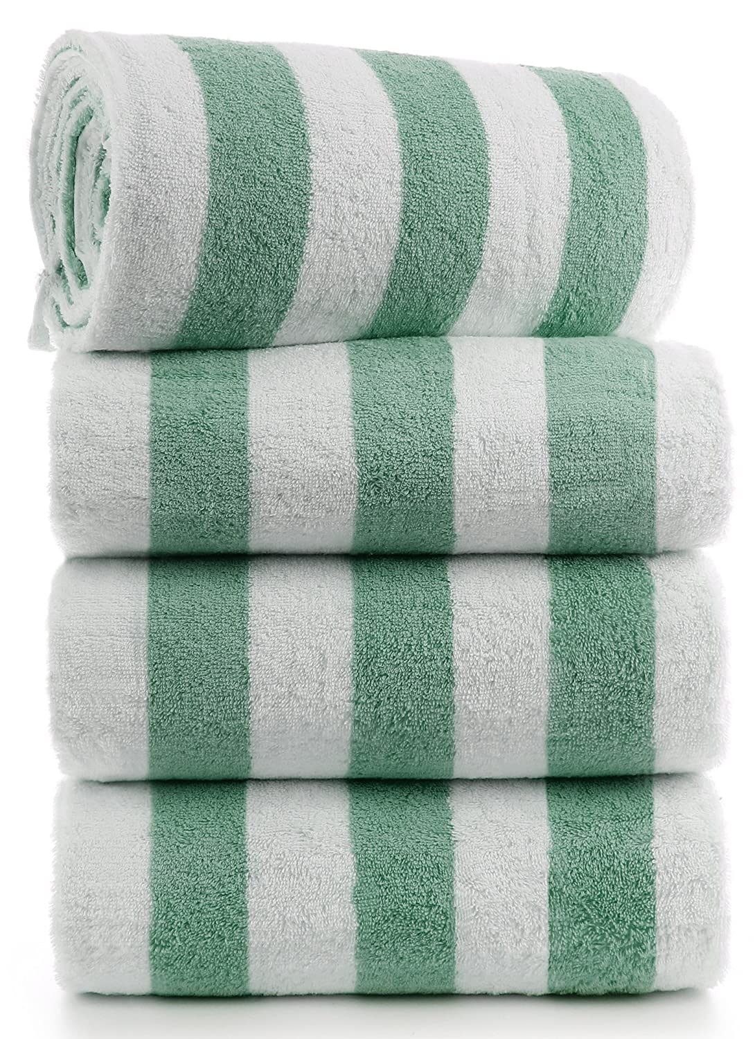 Oversize Turkish Beach Towel, Pool Towel with Cabana Stripe, Eco Friendly, 100% Turkish Cotton (35x70 inches) by Turkuoise Towel (4, Green)