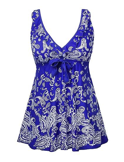3279be101b1ca Nonwe Women s Plus-Size Retro Print Two Piece Pin up Bathing Suits  Swimdress - Multi