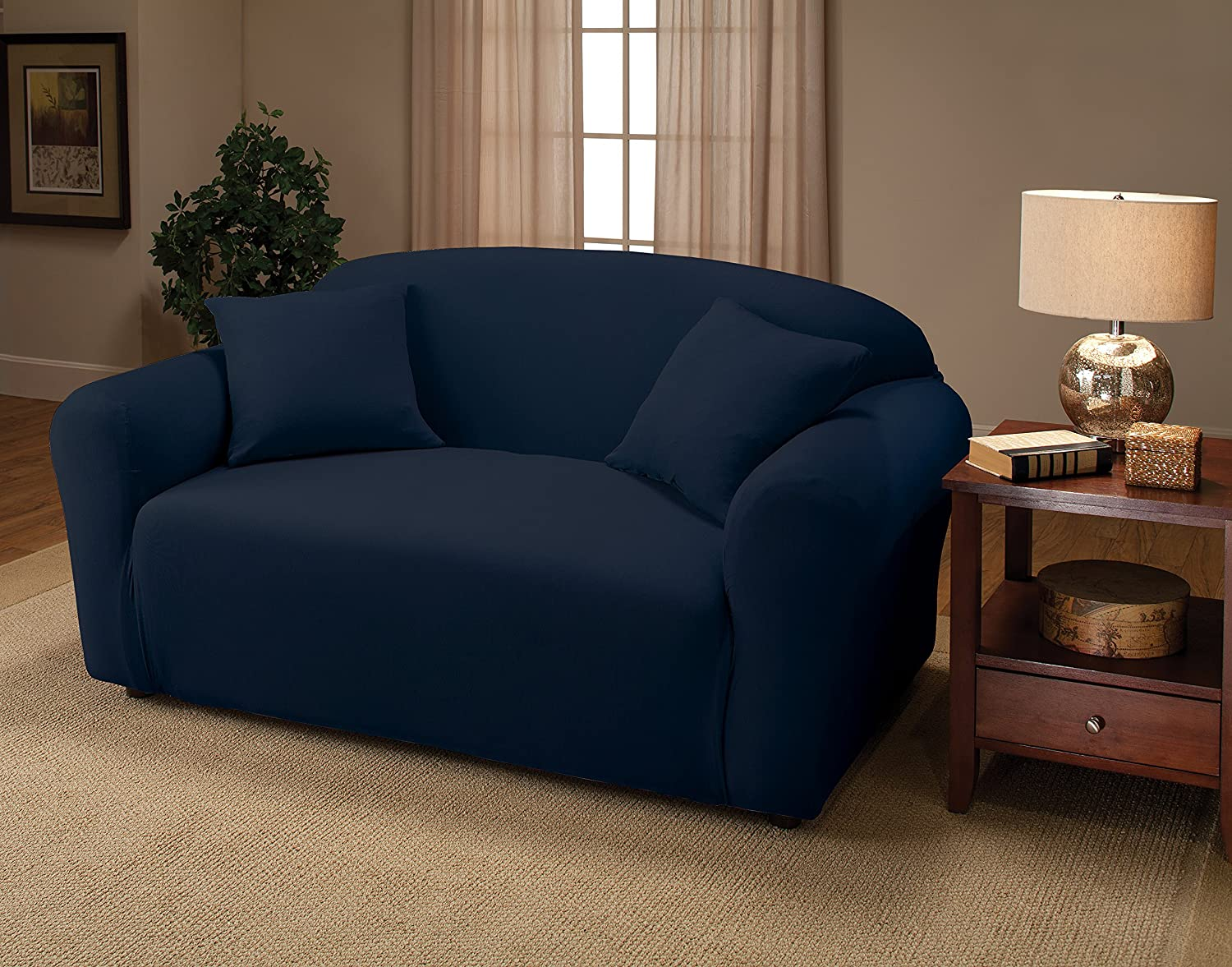 Solid Navy MADISON INDUSTRIES INC Madison Stretch Jersey Recliner Slipcover us home MBPT0 JER-LGRECL-NY Large