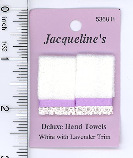 Dollhouse Miniature 1:12 Two White Hand Towels w//Lace Trim /& White Ribbon