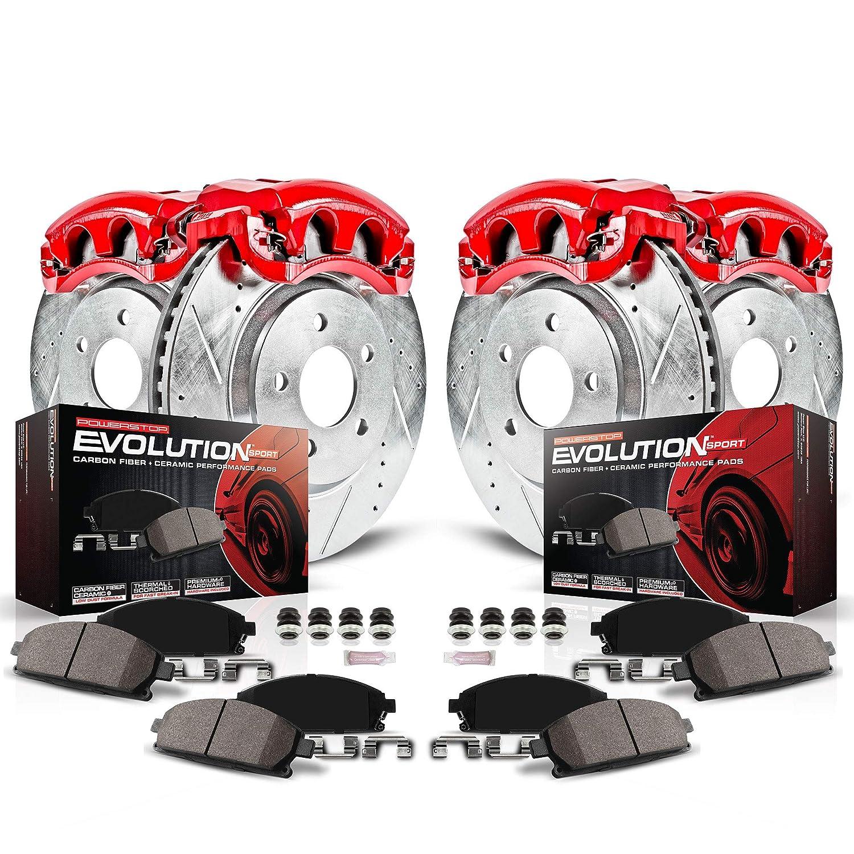 Brake Rotors Power Stop KC7008 Z23 Evolution Sport Rear Brake Caliper Kit Brake Pads and Brake Calipers
