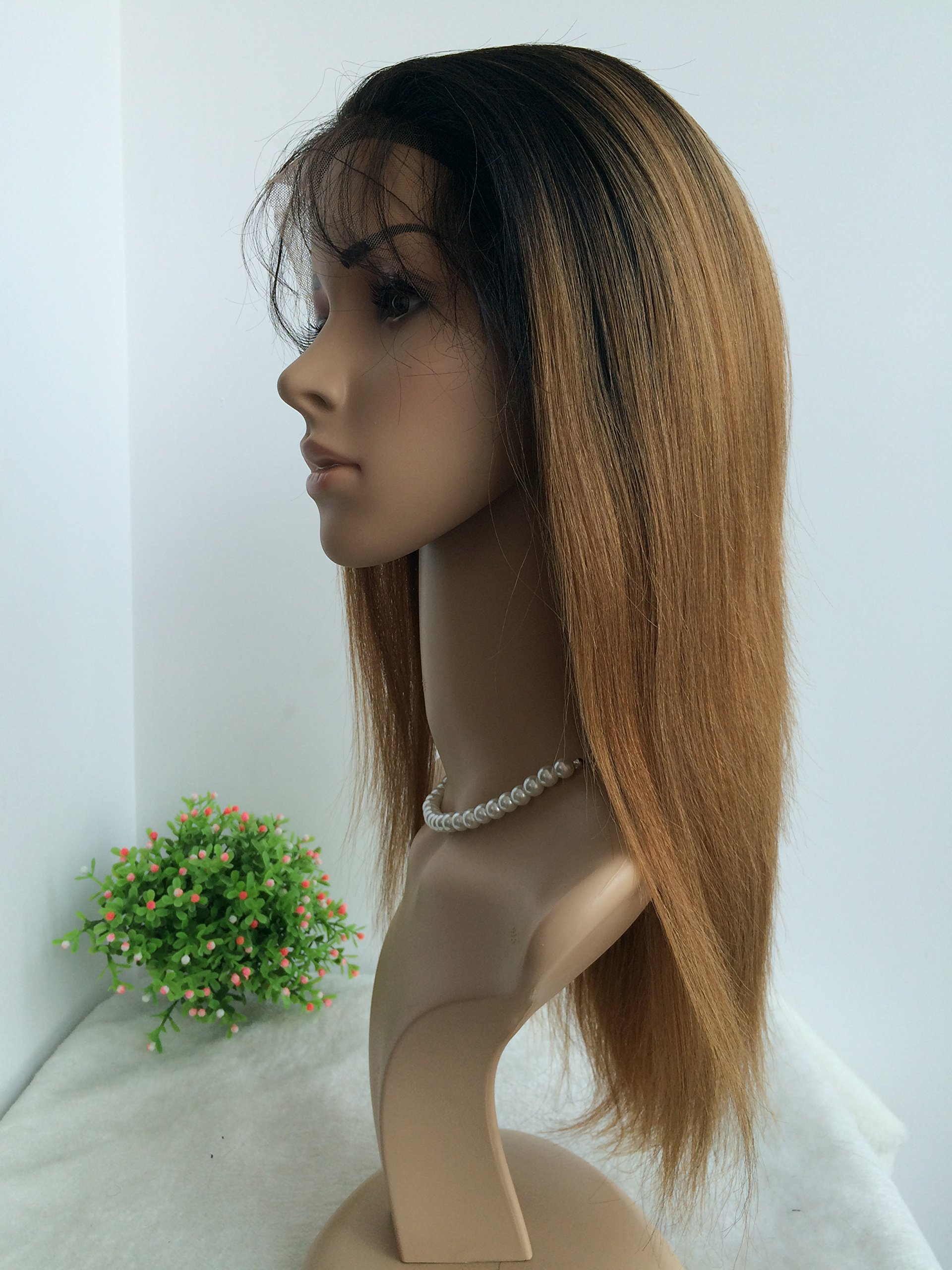 CHINESE VIRGIN 10 INCH,LIGHT YAKI,FULL LACE WIGS SILK TOP,BLEACHED KNOTS--hot sale product!!! by April silk top wigs (Image #1)