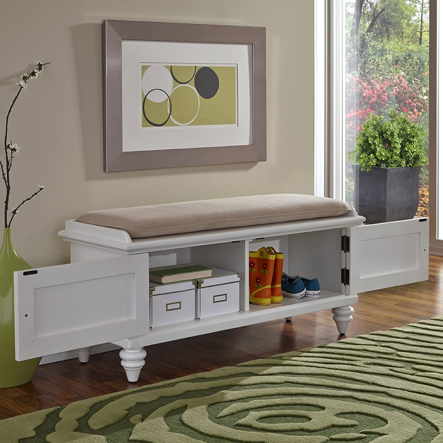 Amazon.com: Home Styles Bermuda Upholstered Bench, Brushed White ...