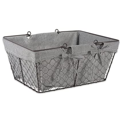 DII Z02001 Vintage Metal Chicken Wire Storage Basket With Handles And  Removable Fabric Liner, Taupe