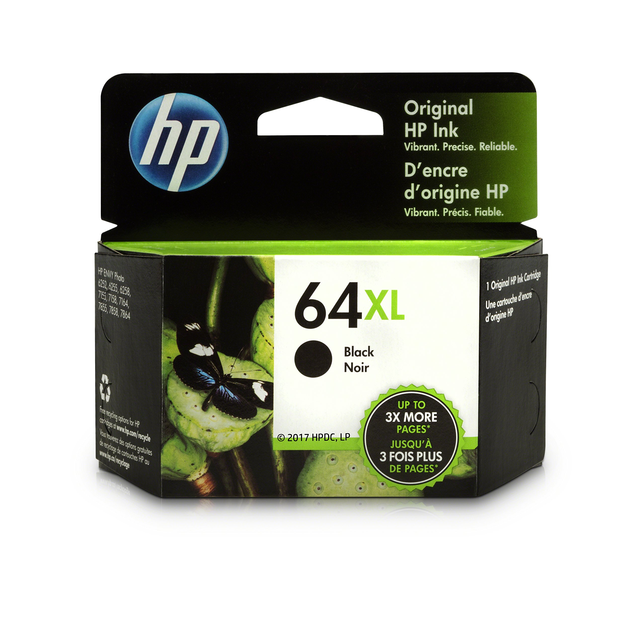HP 64XL Black High Yield Original Ink Cartridge (N9J92AN) for HP ENVY Photo 6252 6255 6258 7155 7158 7164 7855 7858 7864 HP ENVY 5542