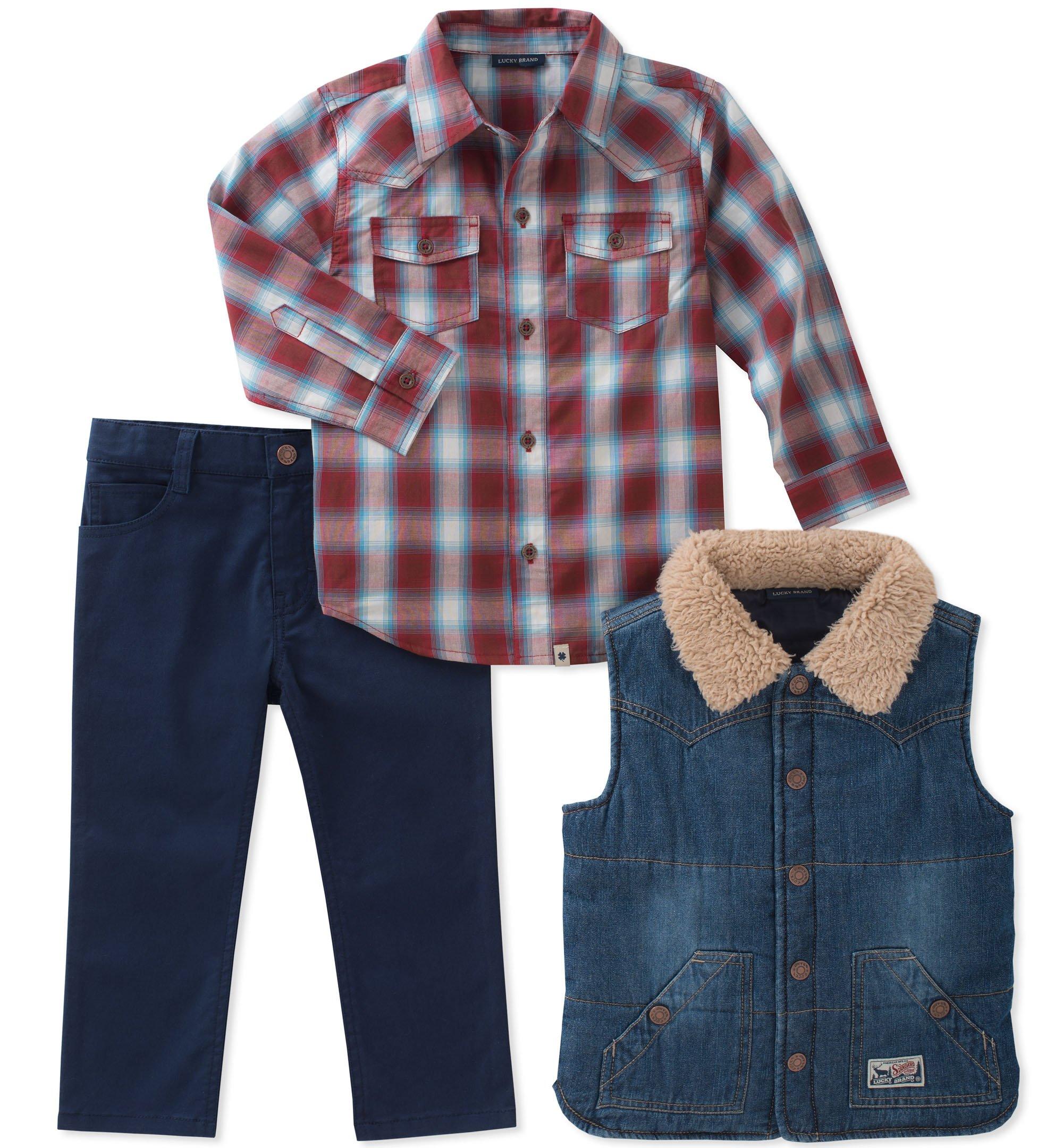 Lucky Brand Toddler Boys' 3 Piece Sets, Blue Denim/Dress Blues/Biking Red, 3T