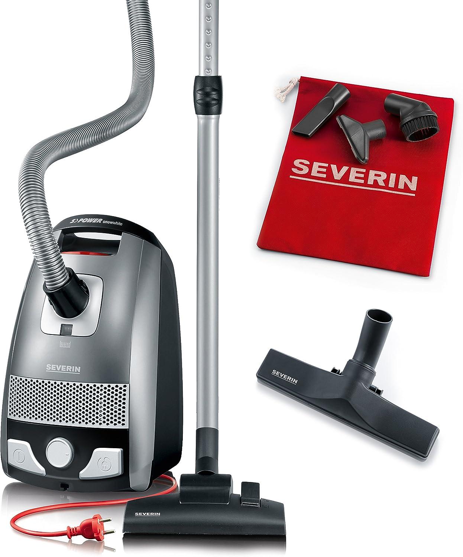 Severin BC 7045, Aspiradora de suelo con bolsa, incluye cabezal para parquet y set de 3 accesorios, S´POWER snowwhite, gris y rojo: Amazon.es: Hogar