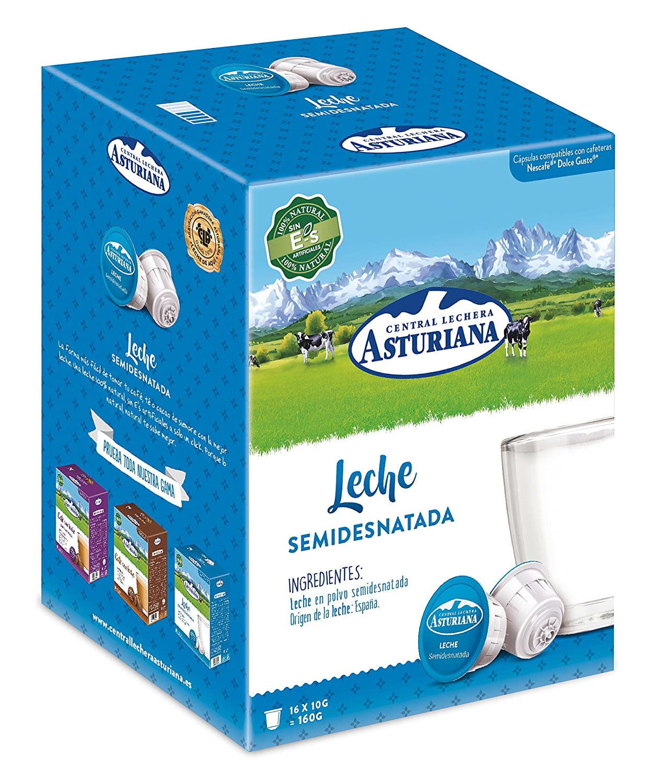 Central Lechera Asturiana Cápsulas de Leche Semidesnatada - 4 Paquetes de 16 Cápsulas - Total: 64 Cápsulas: Amazon.es: Alimentación y bebidas