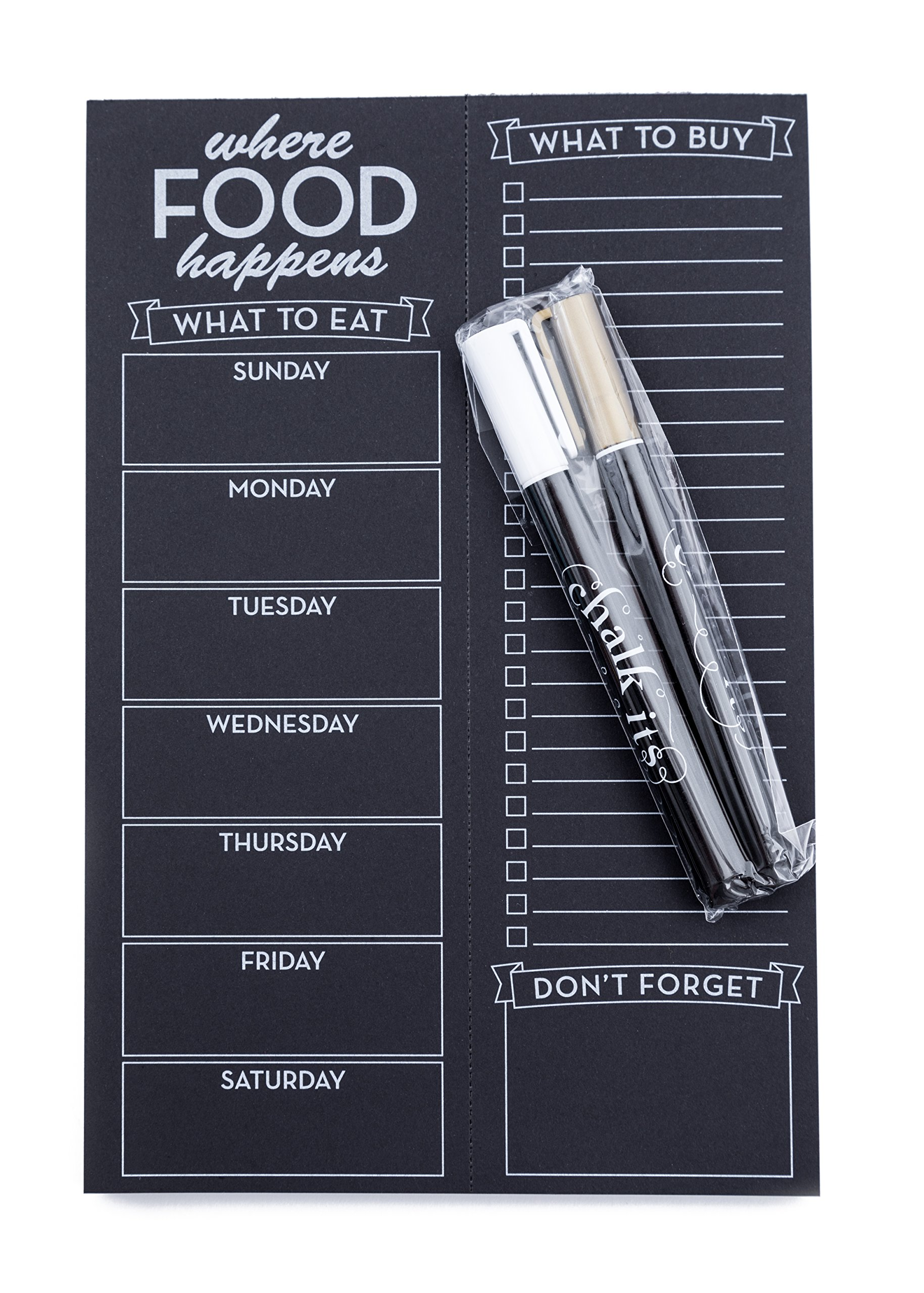 Chalk-Its Weekly Chalkboard Menu & Grocery List Planner w/White and Gold Liquid Chalk Markers, Perforated Black Paper Note Pad, Refrigerator Magnet, Gift Package, Bistro Design of Where Food Happens