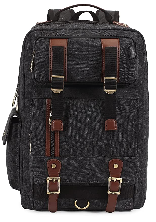 61b54611b9 Kaukko Canvas Leather Backpacks Vintage Rucksacks Multi Pockets Bags for  Casual Sport School Black  Amazon.co.uk  Sports   Outdoors