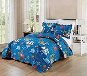 Kids Zone Home Linen 3 Piece Full Quilted Bedspread Set Pirate Ocean Ships Whales Octopus Fishes Palm Trees Blue Red White Brown Green New
