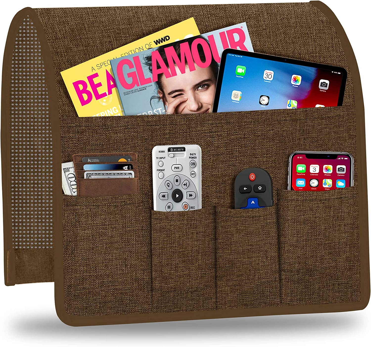 Naturoom Arm Chair Organizer, Armchair Caddy for Recliner Non-Slip Couch Caddy with 5 Pockets Arm Chair Caddy for Smart Phone, Book, Magazines, Ipad, TV Remote Control Holder(Coffee,13'' x 35'')