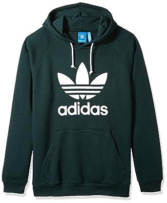 Adidas Originals Men S Trefoil Hoodie Green Night Large Amazon Co