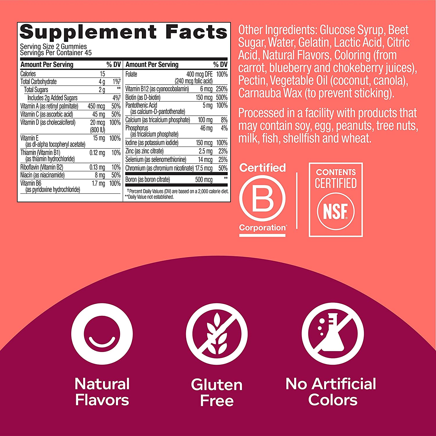 OLLY Women's Multivitamin Gummy, Vitamins A, D, C, E, Biotin, Folic Acid, Chewable Supplement, Berry Flavor, 45 Day Supply - 90 Count (Packaging May Vary) : Health & Personal Care