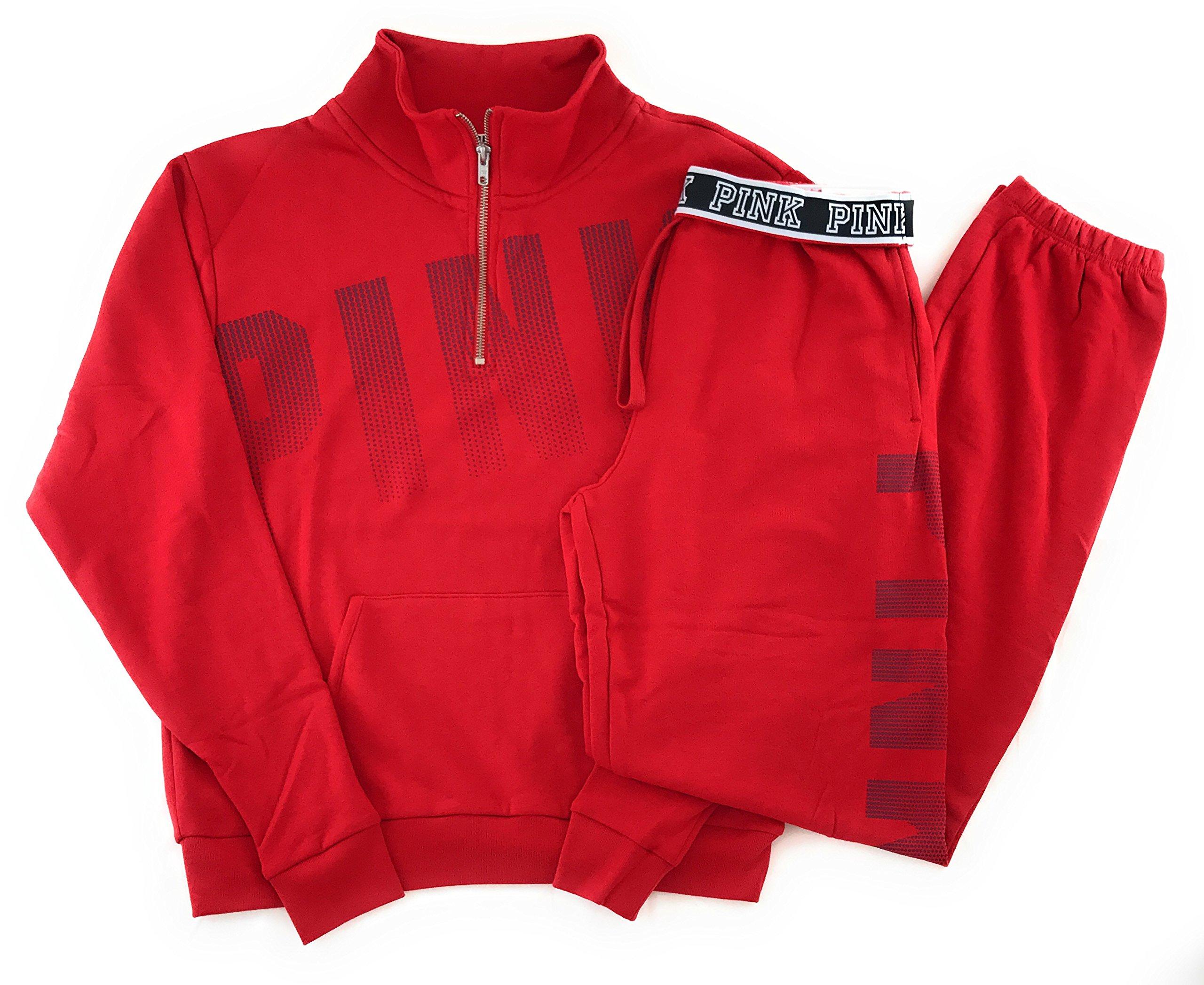 Victoria's Secret PINK Half Zip Sweatshirt and Campus Sweat Pants Set Small Red
