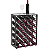 BCP Elegant 32 Bottle Wine Rack W/ Glass Table Top Black Storage Liquor Cabinet